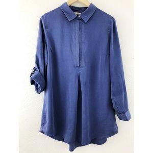 Soft Surroundings Dusty Blue Snap Neckline Tunic